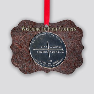 Welcome to Four Corners Monument  Picture Ornament