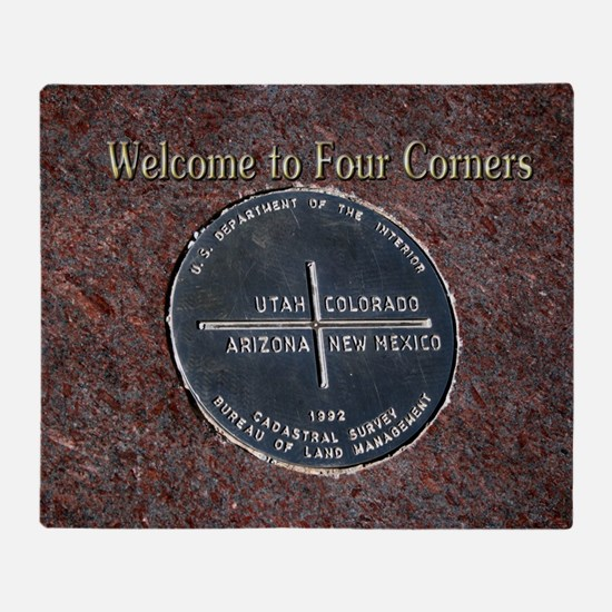 Welcome to Four Corners Monument USA Throw Blanket