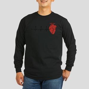 Heart Cardiograph Long Sleeve Dark T-Shirt