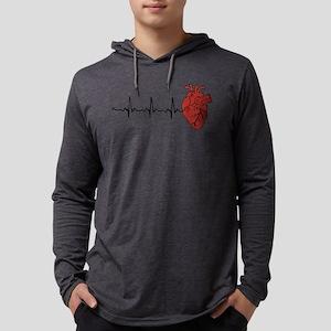 Heart Cardiograph Mens Hooded Shirt