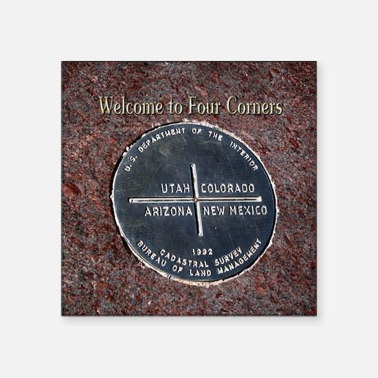 "Four Corners Monument in Na Square Sticker 3"" x 3"""