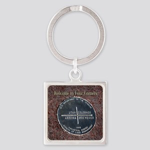 Four Corners Monument in Navajo Na Square Keychain