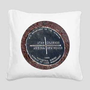 Four Corners USA Geographical Square Canvas Pillow