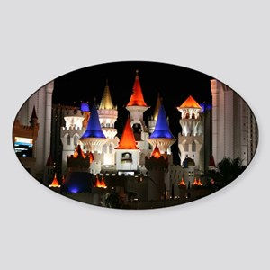 Excalibur Casino at Night in Las Ve Sticker (Oval)