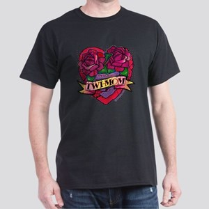 Twilight Twi-Mom Tattoo Heart Roses Dark T-Shirt