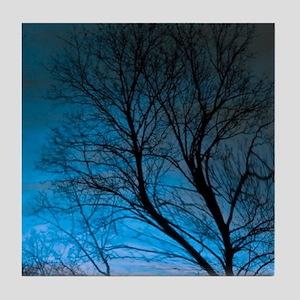 tree dream blue Tile Coaster