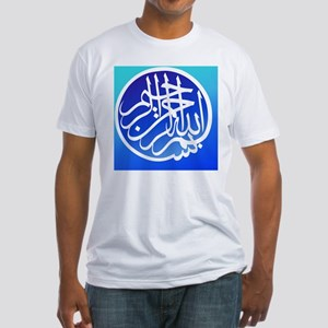 2000px-Bismillah_white_on_blue1 Fitted T-Shirt