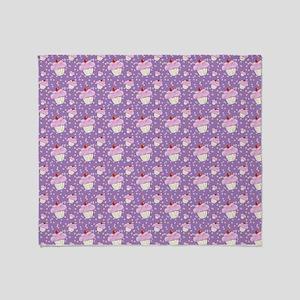 Purple Cupcake pattern Throw Blanket