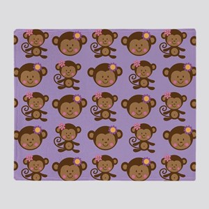 Cute Monkey Lover Gift Throw Blanket