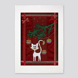 Handmade Kitty Jingle Christmas Card 5'X7'area Rug