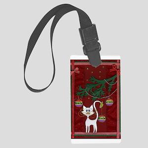 Handmade Kitty Jingle Christmas Card Luggage Tag