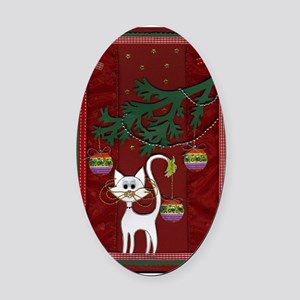 Handmade Kitty Jingle Christmas Card Oval Car Magn
