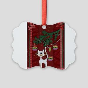 Handmade Kitty Jingle Christmas Card Ornament