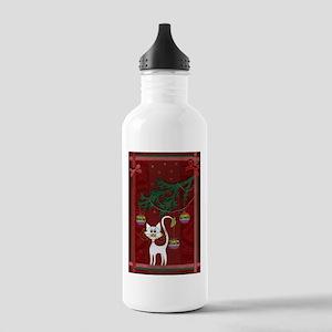 Handmade Kitty Jingle Christm Stainless Water Bott