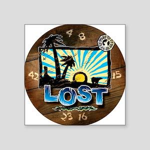 "2-lostwoodvintageclock Square Sticker 3"" x 3"""