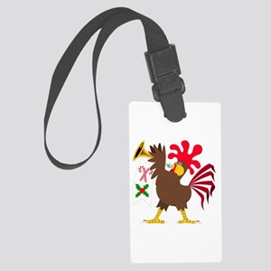 Christmas Trumpeting Rooster Large Luggage Tag