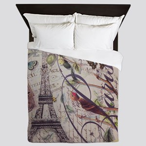 butterfly birds vintage paris botanica Queen Duvet