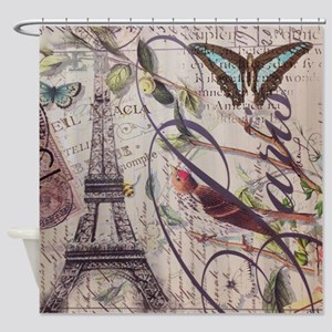 butterfly birds vintage paris botan Shower Curtain