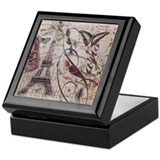 Paris vintage Square Keepsake Boxes