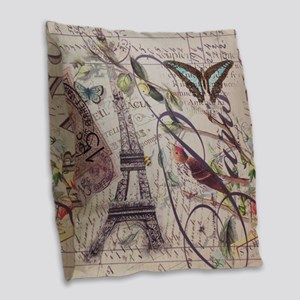 butterfly birds vintage paris  Burlap Throw Pillow