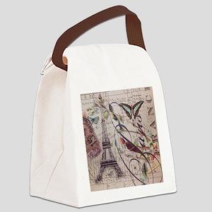 butterfly birds vintage paris bot Canvas Lunch Bag