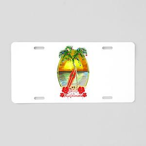 Mele Kalikimaka Surfboard Aluminum License Plate