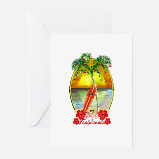 Mele Kalikimaka Surfboard Greeting Cards
