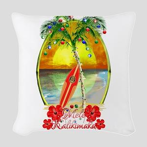 Mele Kalikimaka Surfboard Woven Throw Pillow