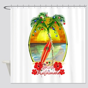 Mele Kalikimaka Surfboard Shower Curtain