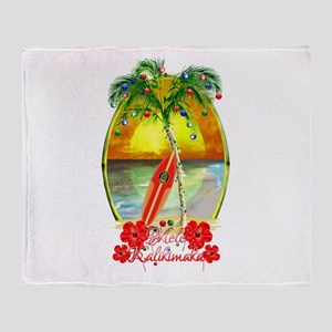 Mele Kalikimaka Surfboard Throw Blanket