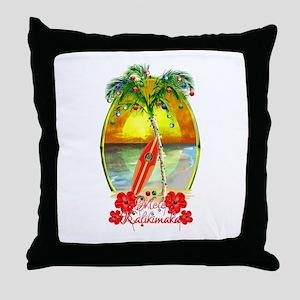 Mele Kalikimaka Surfboard Throw Pillow