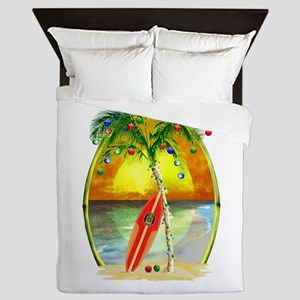 Christmas Beach Sunset Queen Duvet