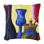 Bottlescape I - Ruby & Sky Blue Woven Throw Pillow