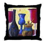 Bottlescape I - Ruby & Sky Blue Throw Pillow