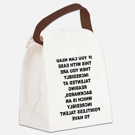 Reading Backwards Useless Talent Canvas Lunch Bag