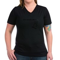 I'm Easily Distra...Bunny! Women's V-Neck Dark T-S
