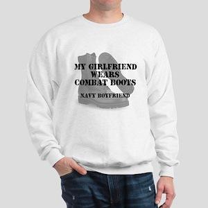 Navy Boyfriend wears CB Sweatshirt
