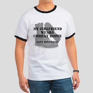 Navy Boyfriend wears CB T-Shirt