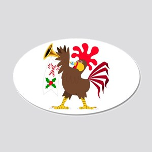 Christmas Trumpeting Rooster 20x12 Oval Wall Decal