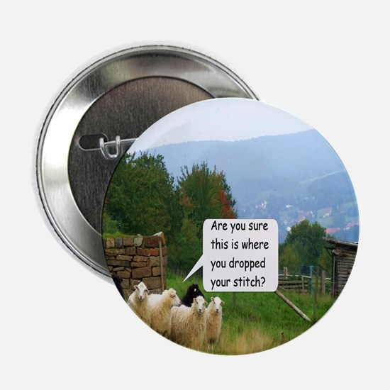 Drop Stitch Sheep 2.25 Inch Button