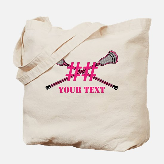 Lacrosse Pink Camo Sticks Crossed Personalize Tote