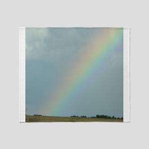 Rainbow over a Field Somewhere Throw Blanket