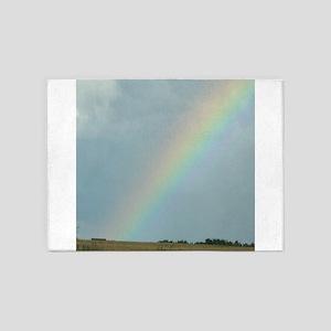 Rainbow over a Field Somewhere 5'x7'Area Rug