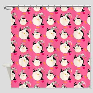 Christmas Penguins Shower Curtain