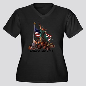 Who's Next ' Women's Plus Size Dark V-Neck T-Shirt