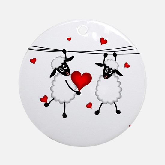 Hang on to Love Sheep Round Ornament