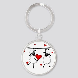 Hang on to Love Sheep Round Keychain