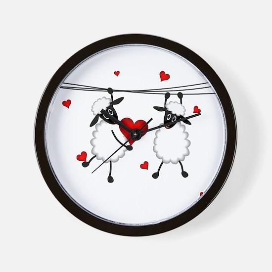 Hang on to Love Sheep Wall Clock