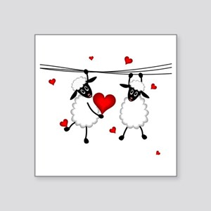 """Hang on to Love Sheep Square Sticker 3"""" x 3"""""""