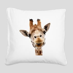 Giraffe Face New Profile Square Canvas Pillow